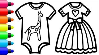 Coloring 8 children's clothes   Painting for toddlers and drawing for kids