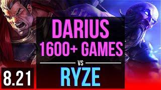 DARIUS vs RYZE (TOP)   8 early solo kills, 1600+ games, KDA 15/0/1, Legendary   NA Diamond   v8.21