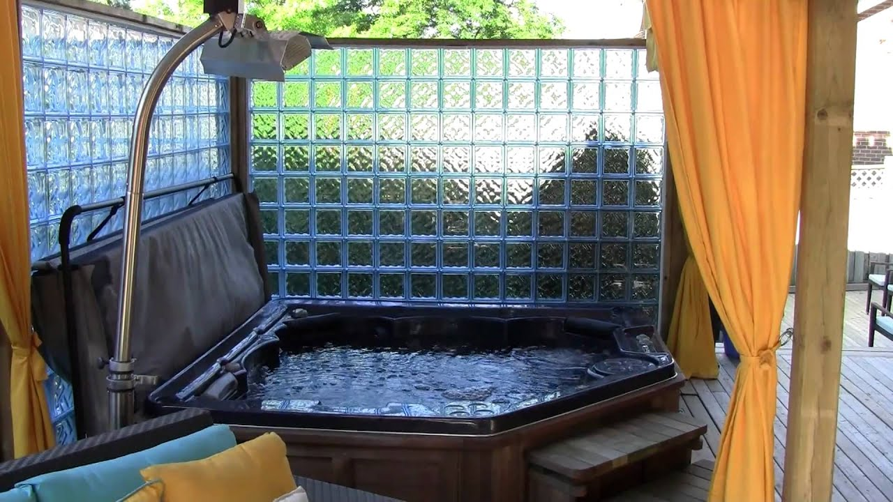 Outdoor hot tub spa rainbow landscaping and design toronto