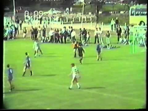 Newbridge Town defeat League & Cup winners Shamrock Rovers 3-1 on the 30th June 1985 at the opening of the Town's new soccer pitch.