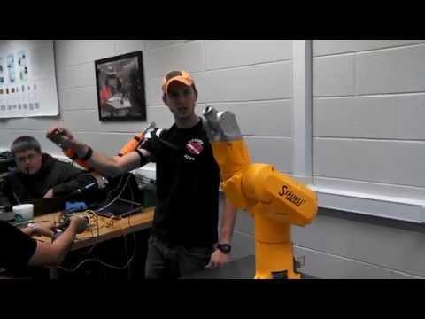Staubli robot control via human arm interface, Arduino and TCP