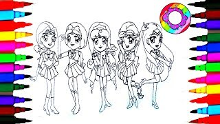 Disney Princess Sailor Moon Coloring Pages l Coloring Markers Videos for Children Learn Colors