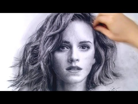 Emma Watson / Hermione Charcoal Portrait Drawing video