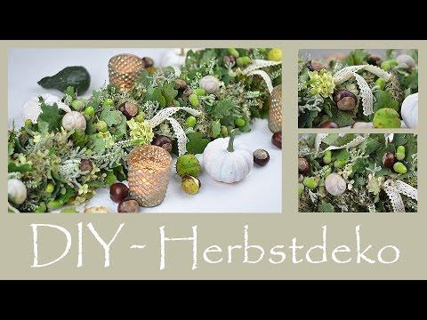 DIY - Herbstliche Tischdeko/Tischgirlande Aus Naturmaterial In Grün-Weiß-Braun