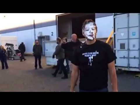 SUPERNATURAL'S Jensen Ackles hits Misha Collins with a pie-in-the-face!