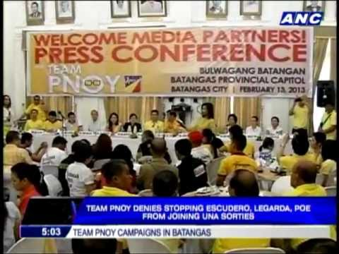Team PNoy running scared in Iloilo, says UNA