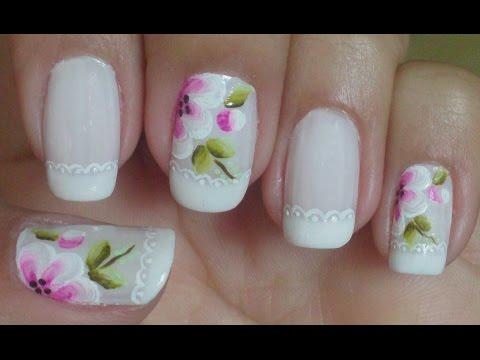 Unhas Decoradas Com Francesinha e Flores Manual Bela e Simples