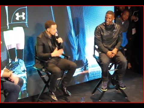 Jamie Foxx & Stephen Curry At Under Armour Commercial Debut