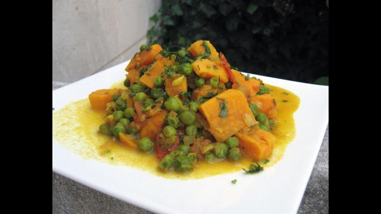 cuisine indienne curry de patate douce et petits pois