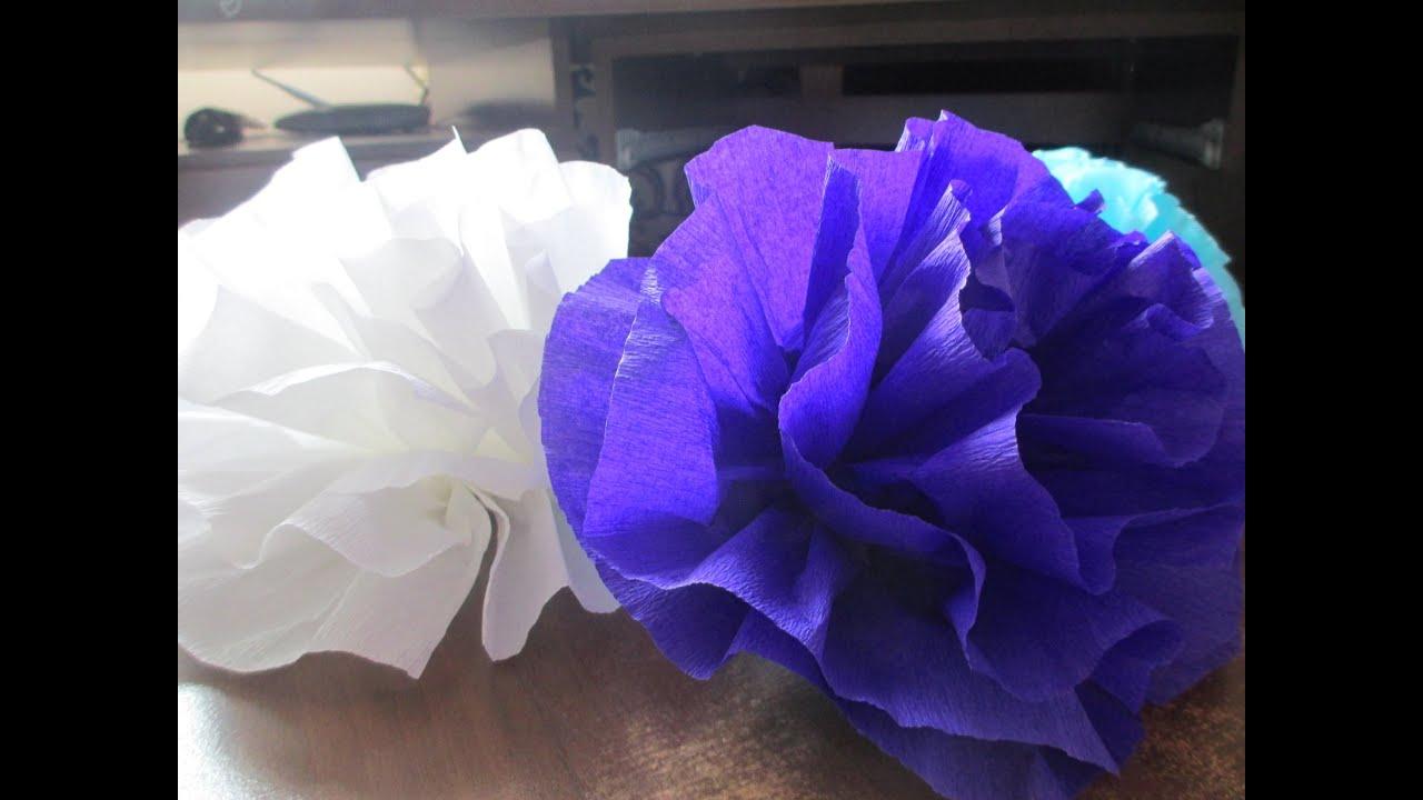 Большие цветы из крепированной бумаги своими руками на стену