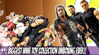 WORLDS BIGGEST WWE TOY COLLECTION UNBOXING EVER - 100 TOYS UNBOXED & REVIEWED! EPIC WWE TOYS!!