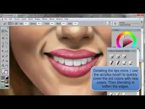 How to Draw & Paint a Portrait (of Scarlett Johansson) using Corel Painter & Wacom tablet
