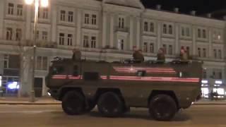 Ночная репетиция парада Победы 2018 на Тверской. Движение бронетехники.