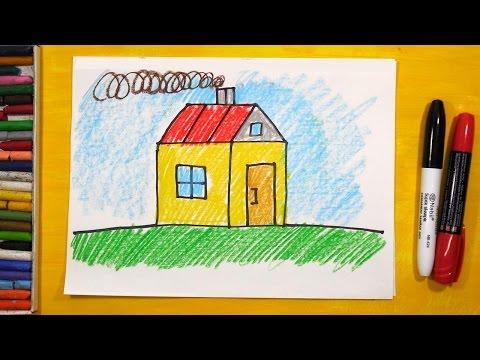 Видео как нарисовать дом для детей