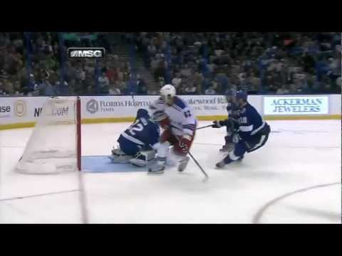 Carl Hagelin Poke check Goal (NY Rangers vs Tampa Bay Lightning, Feb 2, 2013) NHL HD