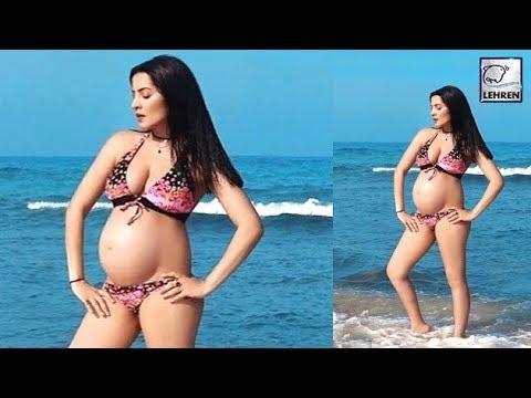 Celina Jaitly Flaunts Her Baby Bump In A Bikini | LehrenTV