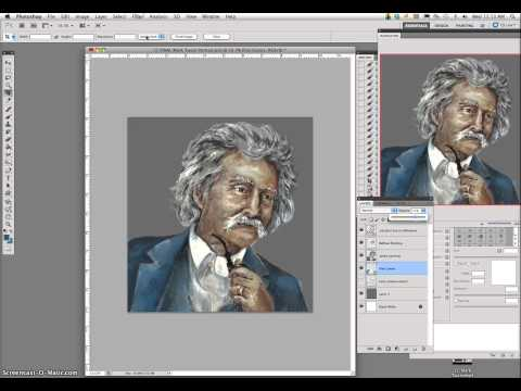 6 Mark Twain Digital Caricature Painting Demo (Direct Adjustments in Finishing)