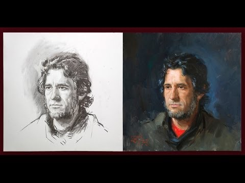 Portrait drawing and painting from life by Ben Lustenhouwer