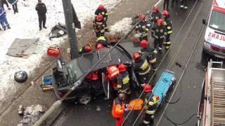 Wypadek na Rondzie Żaba w Warszawie w dniu 13.02.2012