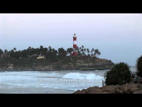 Light house on Kerala coast, India