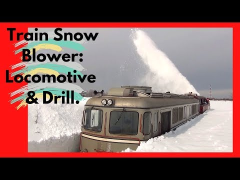 Train Snow Blower Consists of Locomotive & Drill (HD, 1080p)