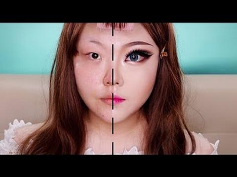 Азиатка показывает чудеса макияжа