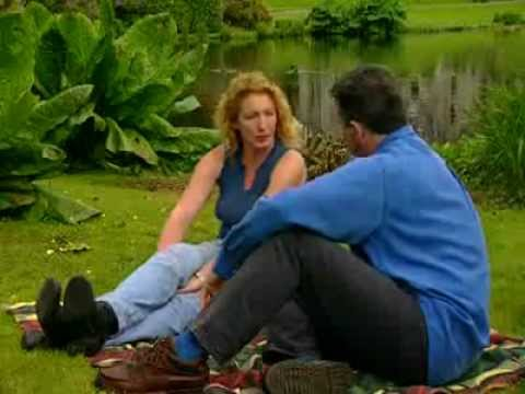 Dermot Cavanagh Teaching Charlie Dimmock to paint at Tempo Manor, County Fermanagh, Ireland.
