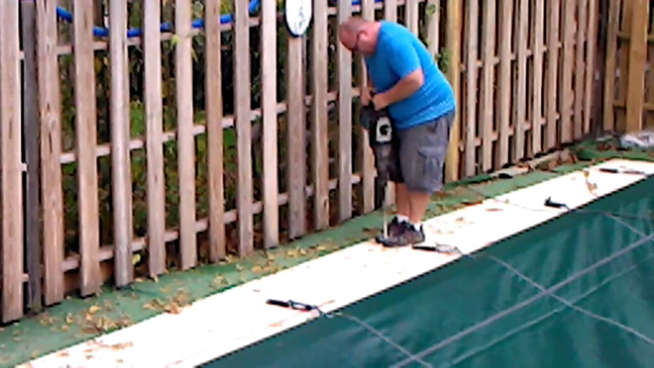 Drilling holes for pool cover anchors youtube for Swimming pool winter cover anchors