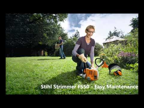 Stihl petrol Strimmer FS 50 56 94 260 FR460 and Battery Powered Trimmers review FSA 65 cutting grass