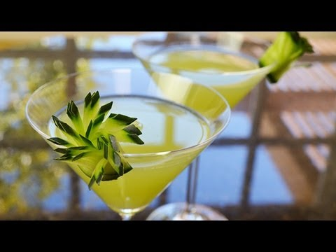 Green Cocktail With Cucumber Garnish Youtube