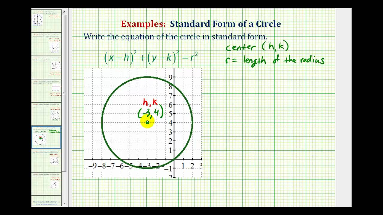write the equation of a circle If the equation of a circle is in the standard form, we can easily identify the center of the circle, (h, k), and the radius, r note: the radius, r, is always.
