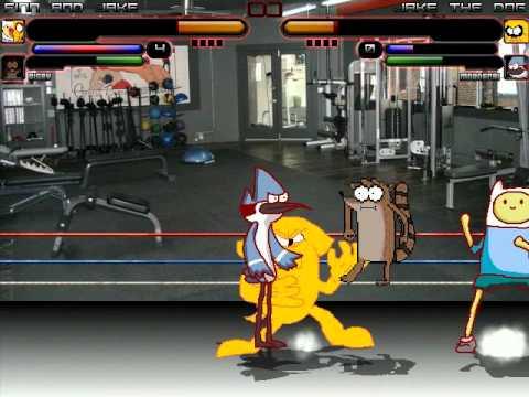 Finn Jake vs Mordecai Rigby Finn And Rigby vs Jake The