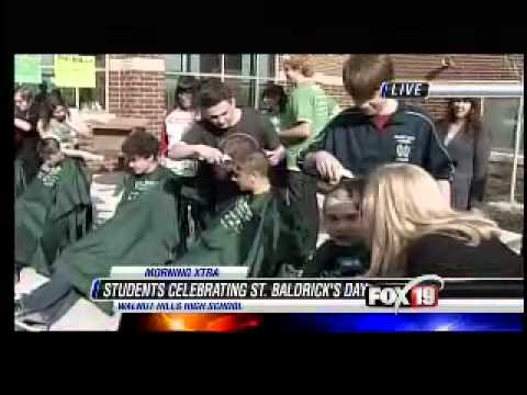 Walnut Hills High School shaving heads for cancer
