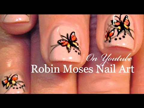 Butterfly Nail Art on Short Natural Nails