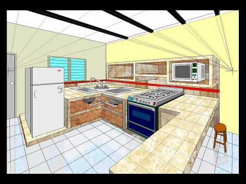 Dibujo en perspectiva 2pf cocina youtube for Quiero disenar mi cocina