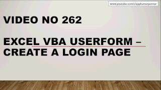 Learn Excel - Video 262 - VBA UserForm- Create a Login Page -Part 3