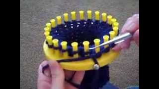 Making a Hat on a knifty knitter - knitting loom.