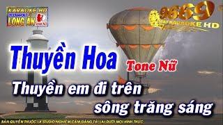 Karaoke Thuyền Hoa | Tone Nữ beat chuẩn | Nhạc sống LA STUDIO | Karaoke 9669