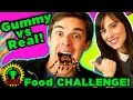 GUMMY FOOD vs. REAL FOOD CHALLENGE | TRYING NOT TO PUKE!
