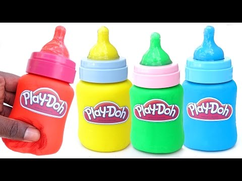 DIY How To Make Play Doh Milk Bottles Mighty Toys Modelling Clay Learn Colors