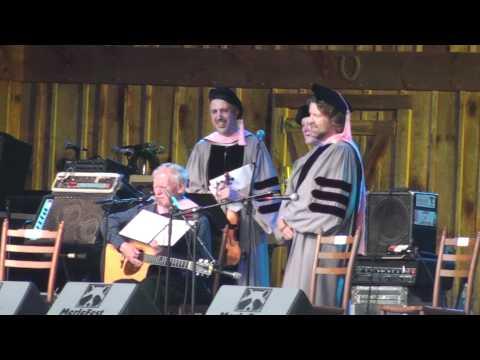Doc Watson makes light of his honorary Berklee Doctoral degree - Merlefest 5-1-10