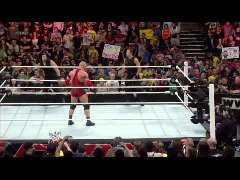 After helping fend off The Shield, John Cena hits Ryback with an Attitude Adjustment: Raw, April 22,