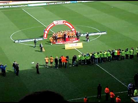 The Coca Cola Championship trophy is presented to winners Wolverhampton Wanderers on 3rd May 2009 after the team beat Doncaster 1-0 thanks to a goal by Richard Stearman.