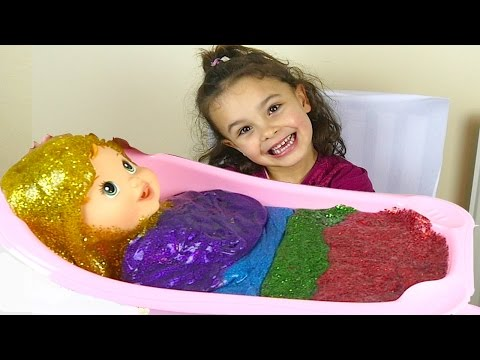 Glitter Slime Baby Bath and Rainbow Putty Ice Cream for Kids