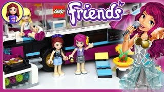Lego Friends Pop Star Tour Bus Set Build Review and Silly Play - Kids Toys