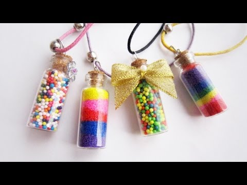 How to make vial bottle candy or colored sand necklace
