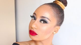 DARK EYES + CLASSIC RED LIPS | HOLLYWOOD PARTY GLAM