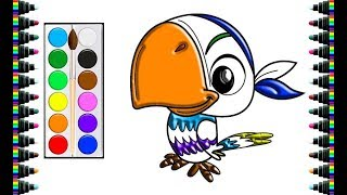 How to draw a cute parrot for children - drawing and coloring for kids - bé yêu