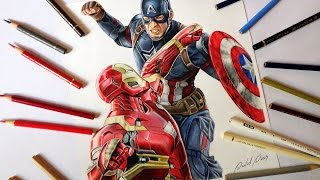 Speed Drawing: Captain America vs Iron Man (Civil War)