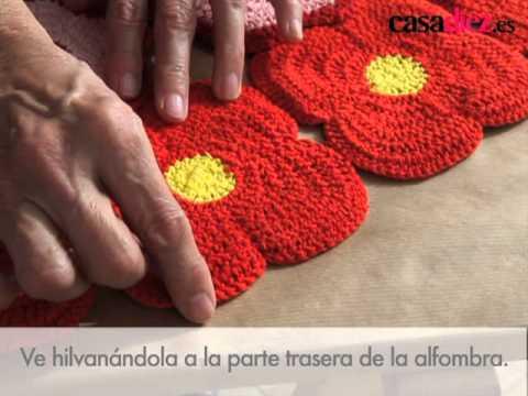 C mo hacer una alfombra original youtube - Como hacer flores de ganchillo ...